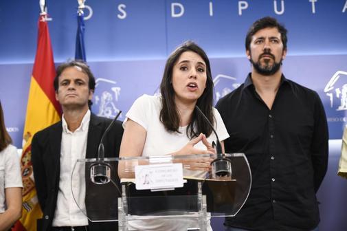 Irene Montero, en rueda de prensa en el Congreso de los Diputados.