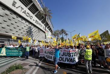 Inicio de la manifestación de los agricultores andaluces en la avenida de la Palmera de Sevilla.