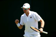 LONDON, ENGLAND - JULY 04: John Peers of Australia, patner of Henri <HIT>Kontinen</HIT> of of Finland in their Men's Doubles first round match against Gerard Granollers of Spain and Marcel Granollers of Spain during Day four of The Championships - Wimbledon 2019 at All England Lawn Tennis and Croquet Club on July 04, 2019 in London, England. (Photo by Clive Brunskill/Getty Images)