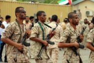 Aden (<HIT>Yemen</HIT>).- Emirati forces-trained recruits of the Yemeni army perform combat training in the southern port city of <HIT>Yemen</HIT>, 29 September 2017 (Issued on 08 July 2019). According to reports, the United Arab Emirates (UAE) on 08 July 2019 announced a partial military withdrawal from war-torn <HIT>Yemen</HIT>, more than four years after it participated in the Saudi-led military coalition against the Houthi rebels in <HIT>Yemen</HIT>. The UAE is a key partner in the coalition which intervened in <HIT>Yemen</HIT> in March 2015 to back the internationally recognized government of <HIT>Yemen</HIT> against Iran-aligned Houthi rebels. (Emiratos Árabes Unidos, Arabia Saudí, coalición internacional) EPA/