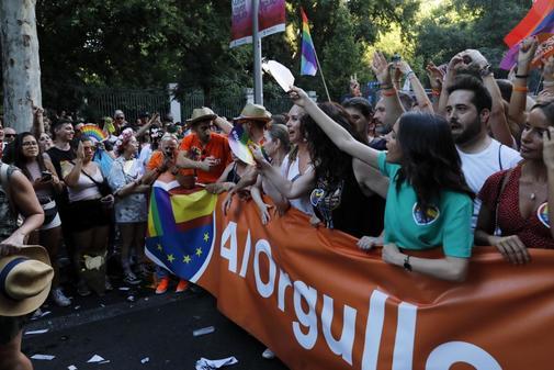 Cabecera de la comitiva de Ciudadanos en el desfile del Orgullo del pasado sábado.