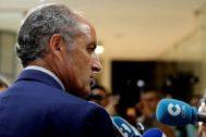 El ex presidente de la Generalitat, Francisco Camps, tras conocer el archivo de la causa contra él.