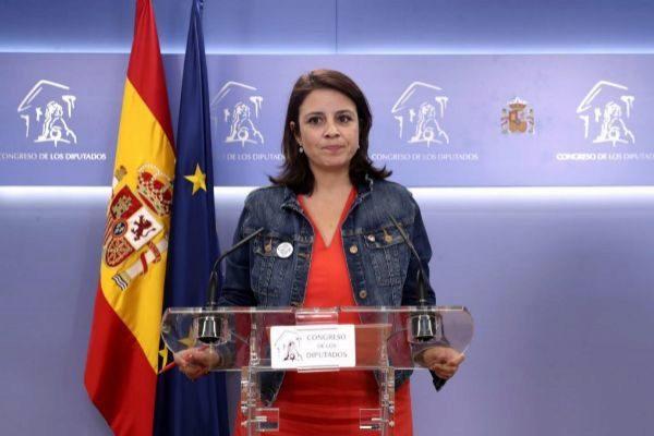 La vicesecretaria general del PSOE, Adriana Lastra, este martes en el...