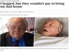Noticia publicada en Reino Unido tras la muerte de un turista que sufrió un ataque al corazón en Lanzarote.