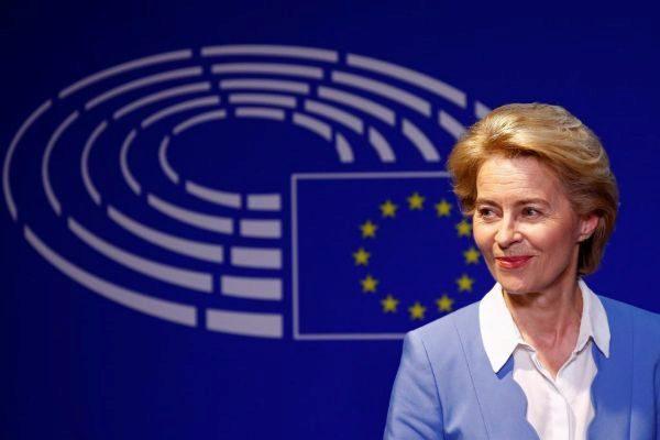German Defense Minister von der Leyen briefs the media at the EU Parliament in Brussels