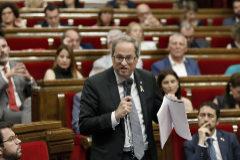 Quim Torra, en la sesión del Parlament de Cataluña