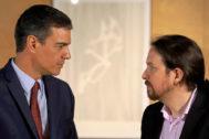 Pedro Sánchez y Pablo Iglesias, en su última reunión en La Moncoa.