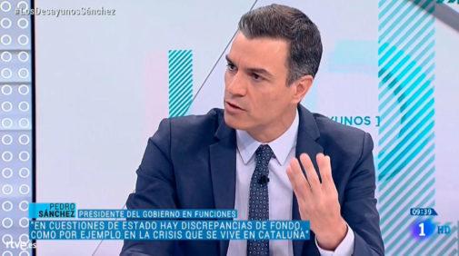 El presidente del Gobierno en funciones, Pedro Sánchez, en un momento de la entrevista en TVE.