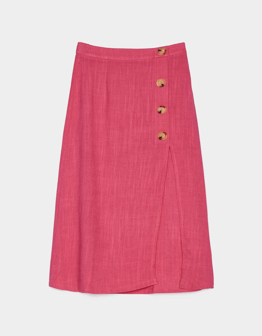 e1549f47c Falda midi de lino fucsia, de Bershka | Moda | EL MUNDO