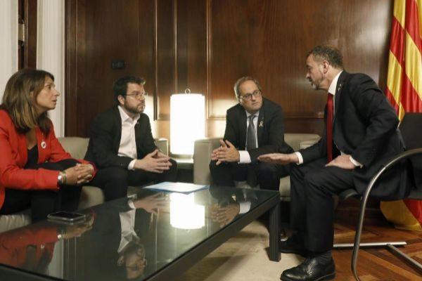 Reunión ayer del conseller de Exteriors con el president Quim Torra y el vicepresident Pere Aragonès