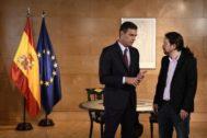 Pedro Sánchez y Pablo Iglesias, juntos en el Congreso de los Diputados el pasado martes.