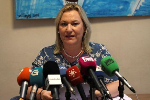 Inés Madrigal, víctima de la trama de bebés robados, durante la rueda de prensa este jueves.