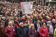 Manifestación de jubilados en Bilbao para reclamar pensiones más elevadas.