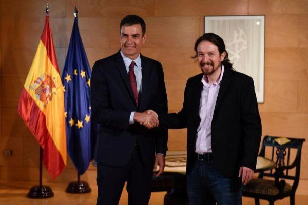 Pedro Sánchez y Pablo Iglesias, en la reunión que celebraron el pasado martes en el Congreso.