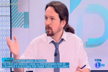 Pablo Iglesias, durante la entrevista de este viernes en TVE.