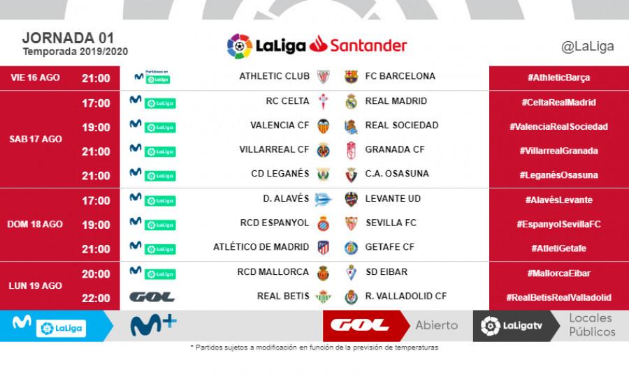 Calendario Laboral Barcelona 2020.Horarios De Las Primeras Jornadas De Liga Empieza Con Un Athletic