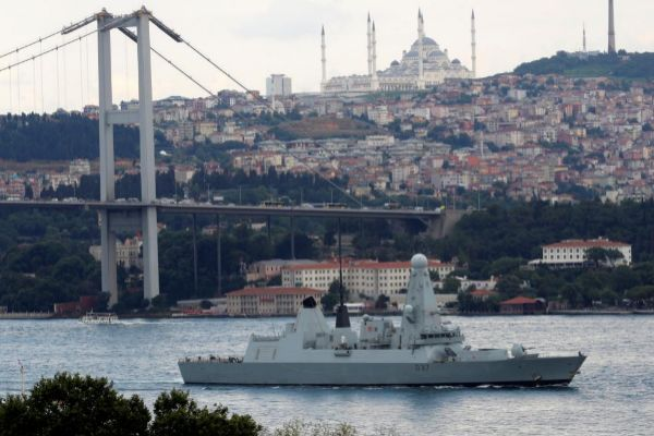 British Royal Navy destroyer <HIT>HMS</HIT> <HIT>Duncan</HIT> (D37) sails in the Bosphorus, on its way to the Mediterranean Sea, in Istanbul