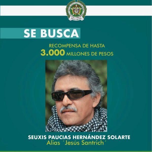 Colombia ofrece una recompensa multimillonaria para quien ayude a capturar a Jesús Santrich