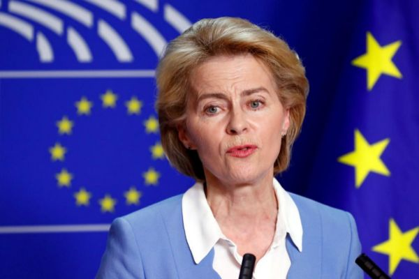 FILE PHOTO: German Defense Minister von der Leyen briefs the media at the EU Parliament in Brussels