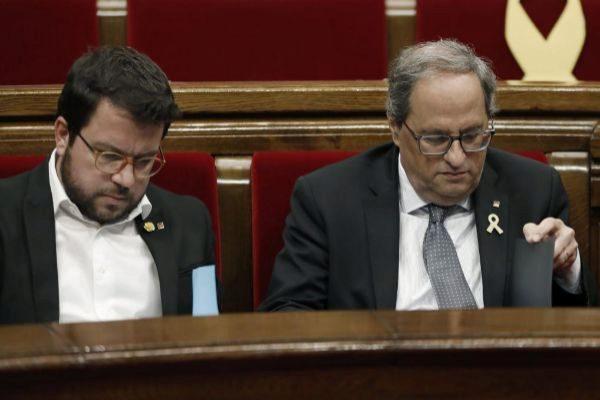 Torra, junto al vicepresidente Aragonès.