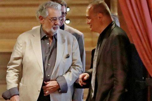 Plácido Domingo, junto a Joan Matabosch, en la presentación de 'Giovanna D'Arco'.