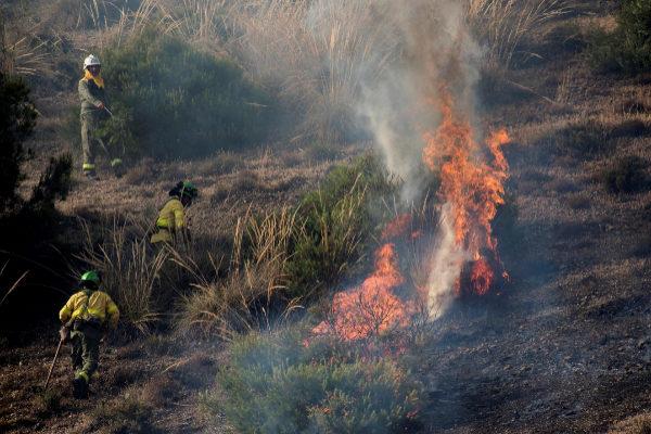 Bomberos trabajan en la extinción del incendio forestal declarado esta tarde en un paraje del Sacromonte (Granada).