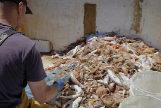 Un pescador catalán, separando el plástico que ha sacado del mar.
