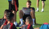 Ferrán Torres, durante un entrenamiento de la selección.