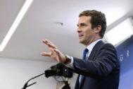 El líder del PP, Pablo Casado, en una rueda de prensa.