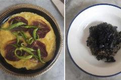 Tortilla vaga, arroz de trompeta y torrija de sobao.