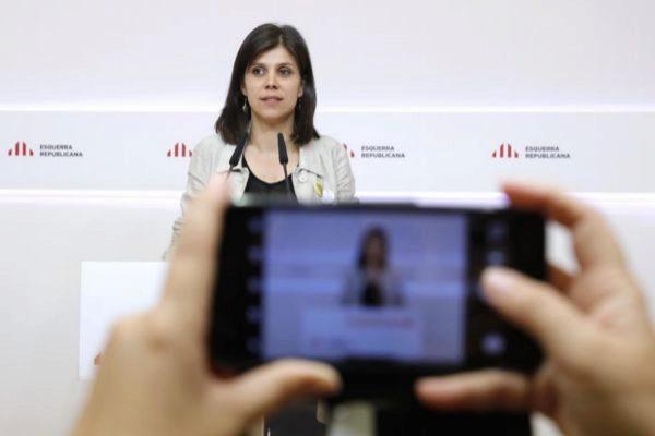 La portavoz de ERC Marta Vilalta en rueda de prensa.