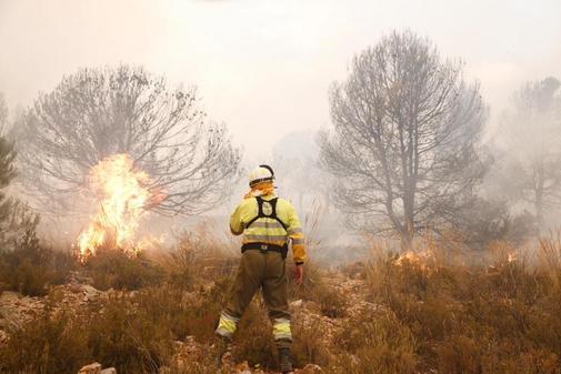 Un bombero del Consorcio Provincial en la zona incendiada