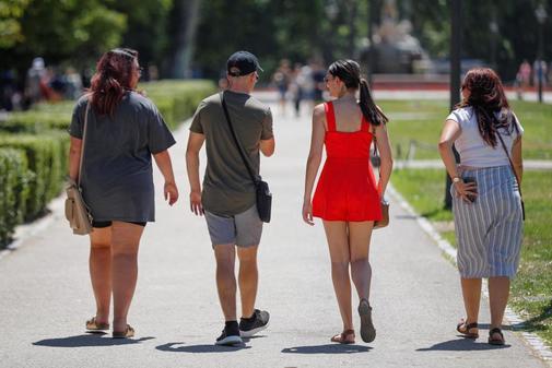 Un grupo de jóvenes pasea por Madrid