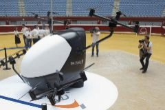Primer aerotaxi desarrollado en España, en la plaza de Illunbe.