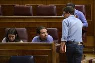 Pablo Iglesias e Íñigo Errejón, en el Congreso en mayo de 2018