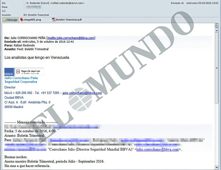 Correo electrónico remitido por el jefe de seguridad de BBVA al socio de Villarejo el 5 de octubre de 2016.