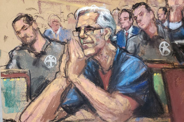 Jeffrey <HIT>Epstein</HIT> looks on during a a bail hearing in U.S....