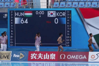 "This handout photo taken and released by the FINA Organising Committee via Yonhap shows a general view of the women's <HIT>water</HIT> <HIT>polo</HIT> match between South Korea and Hungary at the 2019 World Championships in Gwangju on July 14, 2019. (Photo by Handout / FINA Organising Committee via Yonhap / AFP) / RESTRICTED TO EDITORIAL USE - MANDATORY CREDIT ""AFP PHOTO / FINA Organising Committee via Yonhap"" - NO MARKETING - NO ADVERTISING CAMPAIGNS - DISTRIBUTED AS A SERVICE TO CLIENTS"