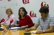 Goenaga, López de Aberasturi y Aranoa, en al rueda de prensa.