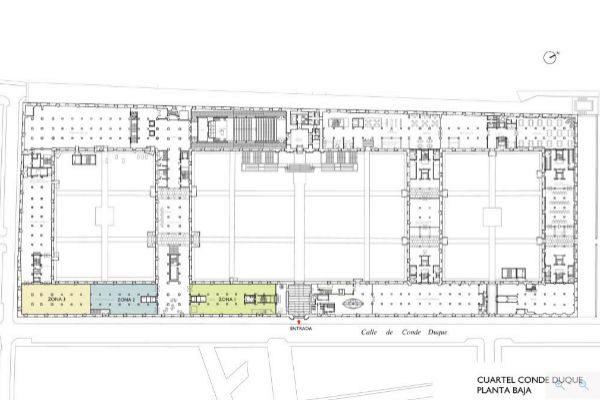 Plano de Conde Duque, que tendrá un centro cultural en la planta baja, coloreada.