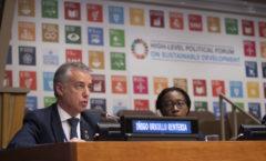 El lehendakari Iñigo Urkullu hoy en su intervención ante un foro político de la ONU en Nueva York