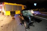 Estado en que ha quedado el vehículo del conductor suicida.