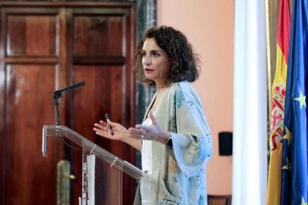 La ministra de Hacienda, María Jesús Montero, hoy en el Ministerio de Hacienda.