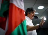 El exsecretario general de EA Pello Urizar durante la comunicación de su decisión de dejar el cargo.