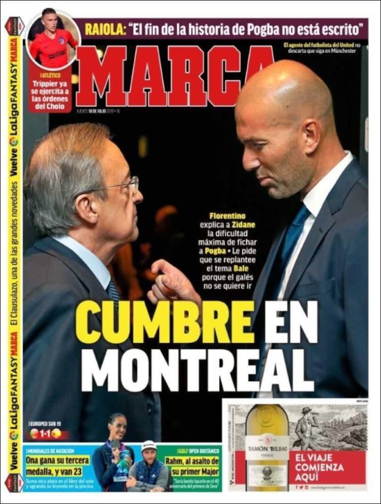 Las portadas de los diarios deportivos (18/07/19)