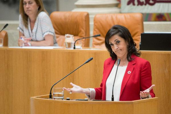 La candidata el PSOE en La Rioja,. Concha Andreu, en el Pleno del martes.