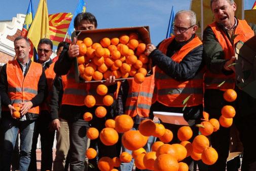 Agricultores protestan descargando cajas de naranjas.