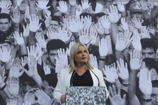 Marimar Blanco, en un homenaje el pasado 11 de julio por los 22 años del asesinato de su hermano.