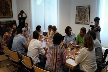 Reunión el pasado 16 de julio entre el PSN, Geroa Bai, Podemos e I-E para negociar el modelo de Gobierno en Navarra.