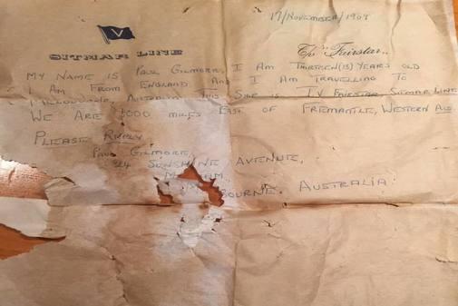 Un extracto de la carta que fue encontrada en Australia.